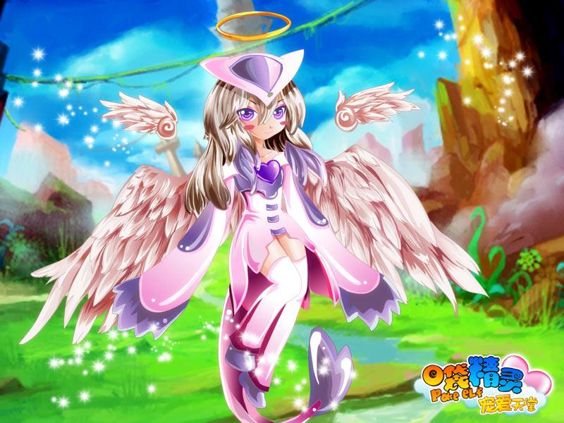 古灵精怪的双翼天使妖妖与其它天使的最大不同就在于她有两对翅膀.